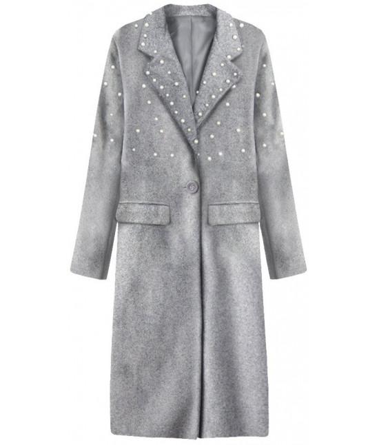 3904d4bc6f Dlhý dámsky kabát s perlami MODA195 šedý - Dámske oblečenie