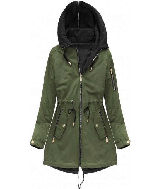 Obojstranná dámska jarná bunda MODA636BIG khaki 1