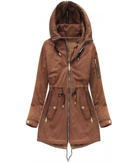 Obojstranná dámska jarná bunda MODA636BIG karamelová