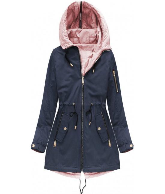 Obojstranná dámska jarná bunda MODA636BIG tmavomodrá