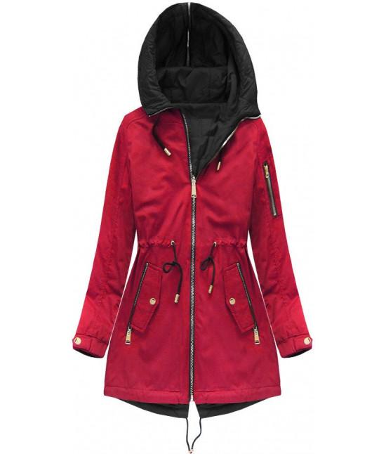 Obojstranná dámska jarná bunda MODA636 červená