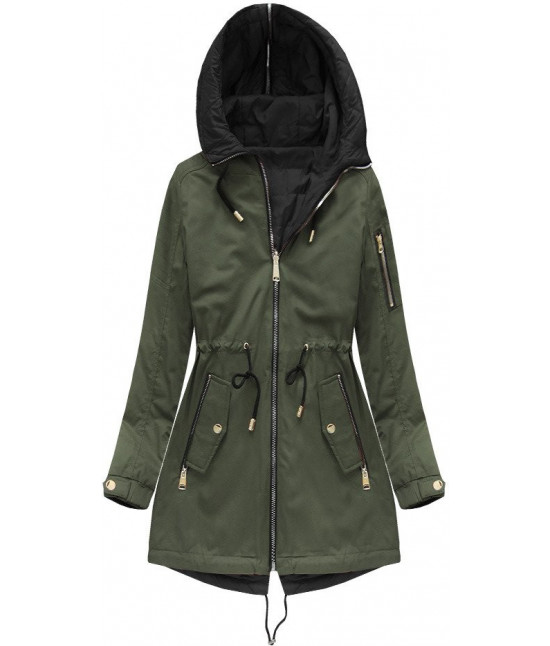 Obojstranná dámska jarná bunda MODA636BIG khaki 2