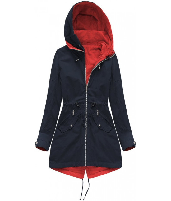 Dámska obojstranná bunda parka MODA231 modro-červená