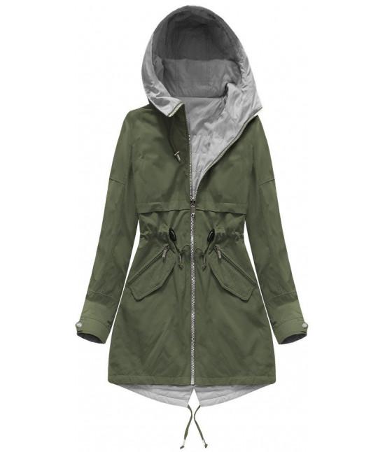 Obojstranná dámska jarná bunda MODA236 khaki-šedá