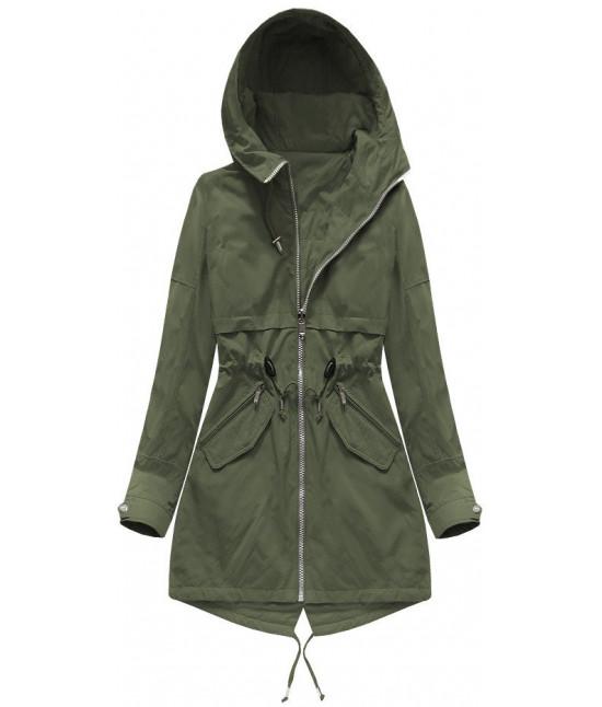 Obojstranná dámska jarná bunda MODA236 khaki