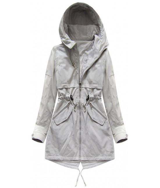 Obojstranná dámska jarná bunda MODA236 šedá