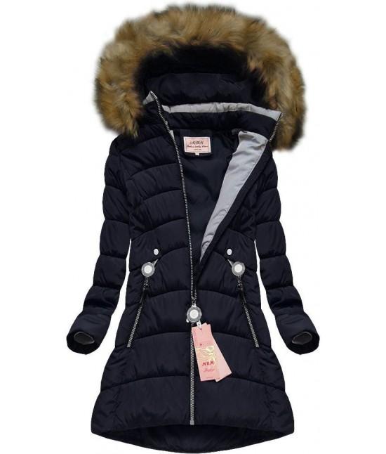 Dámska zimná bunda tmavomodrá W609-1 veľkosť M d23a8275cd1