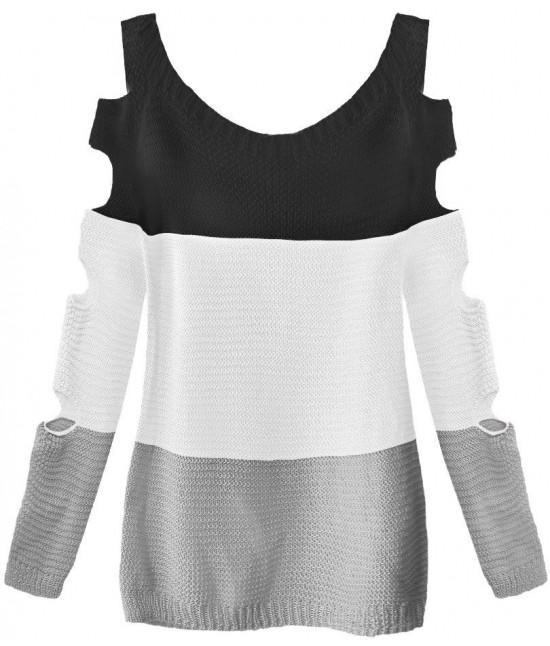 Dámsky sveter s otvormi na rukáve MODA228 čierno-biely
