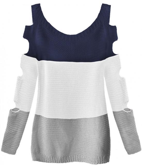 Dámsky sveter s otvormi na rukáve MODA228 tmavomodro-biely