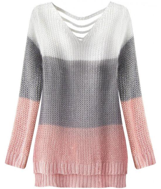 Dámsky sveter MODA224 bielo-šedý UNI
