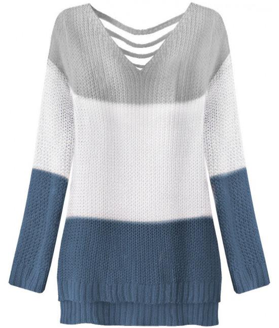 36081ae72992 Dámsky sveter MODA224 šedo-biely - Dámske oblečenie