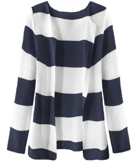 Dámsky sveter pásikovaný MODA231 bielo-tmavomodrý