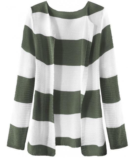 Dámsky sveter pásikovaný MODA231 bielo-khaki