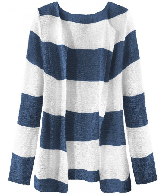 Dámsky sveter pásikovaný MODA231 bielo-modrý