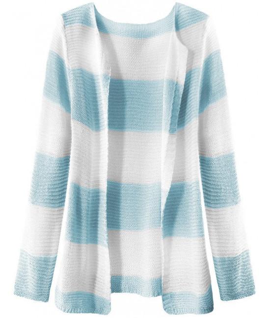Dámsky sveter pásikovaný MODA231 bielo-svetlomodrý