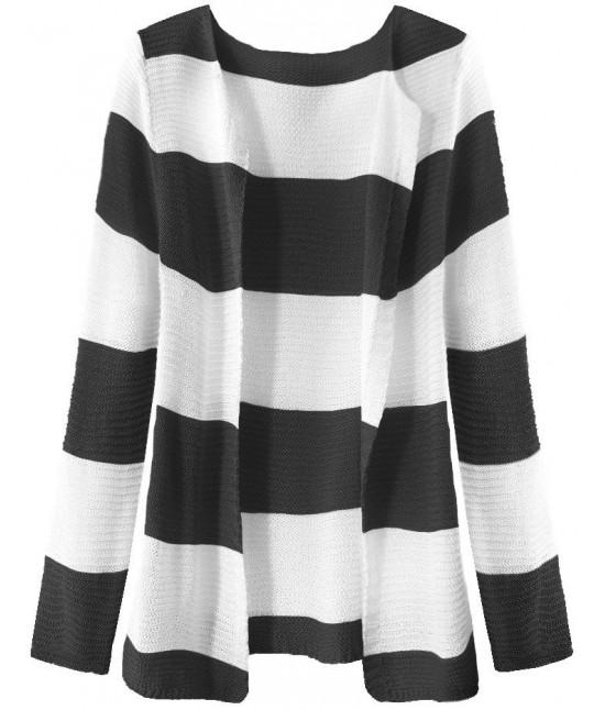 Dámsky sveter pásikovaný MODA231 bielo-čierny