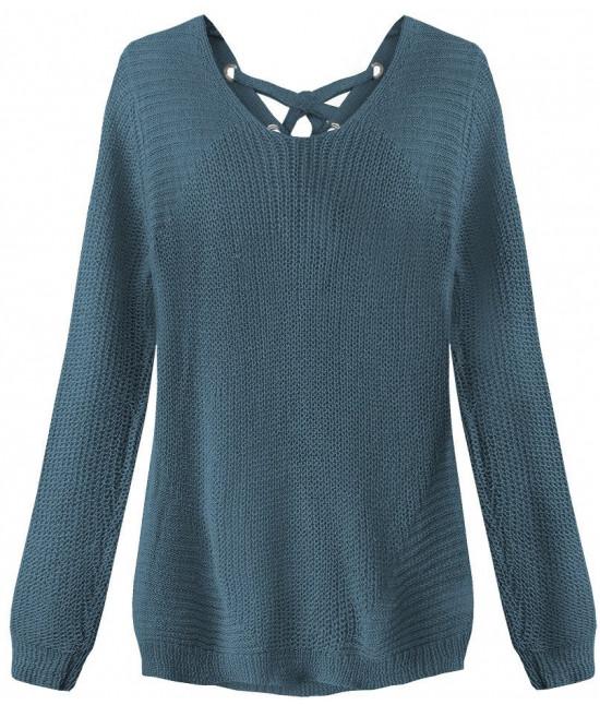 Dámsky sveter so šnurovaním MODA226 modrý