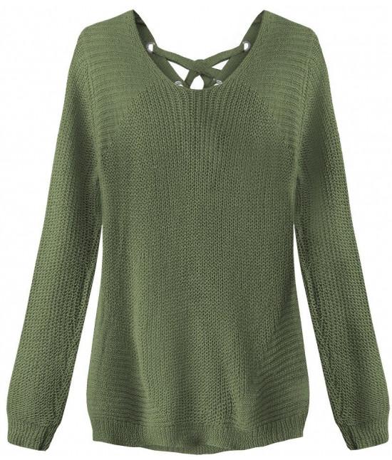 Dámsky sveter so šnurovaním MODA226 khaki