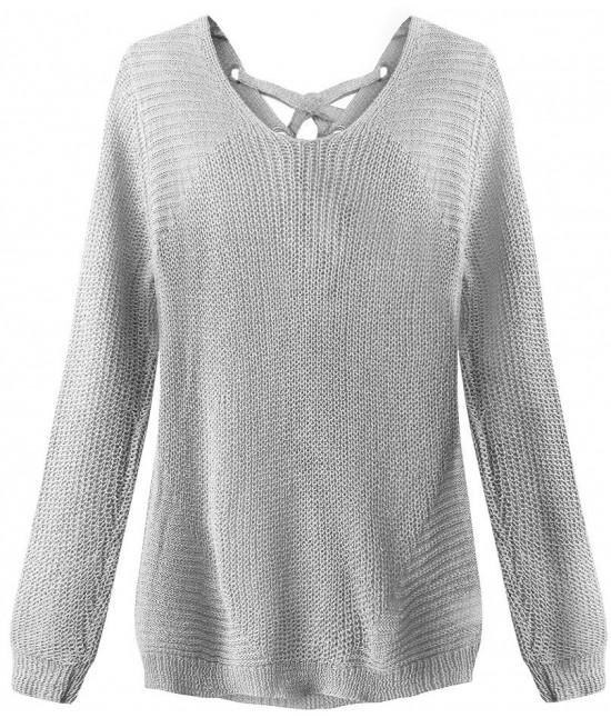 Dámsky sveter so šnurovaním MODA226 šedý