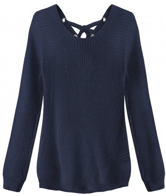 Dámsky sveter so šnurovaním MODA226 tmavomodrý
