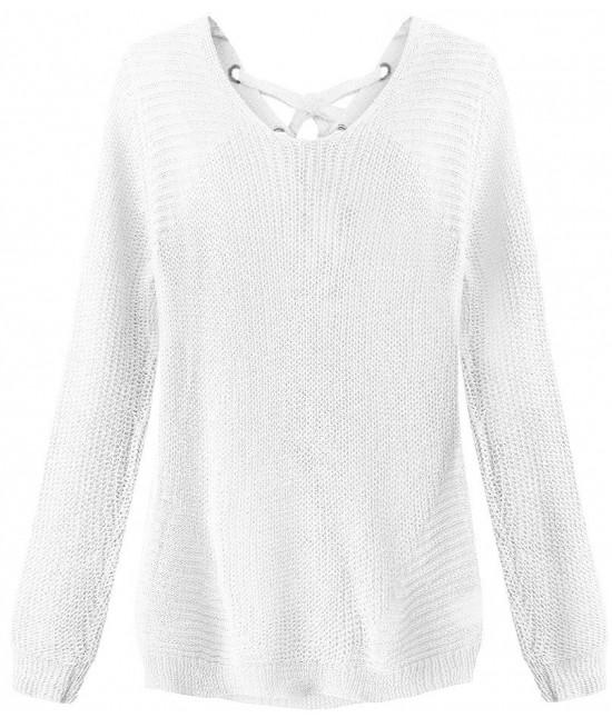 Dámsky sveter so šnurovaním MODA226 biely