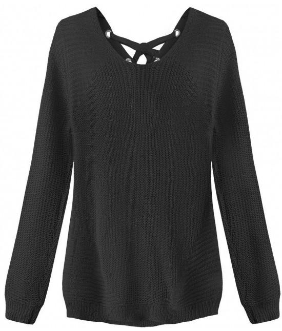 Dámsky sveter so šnurovaním MODA226 čierny