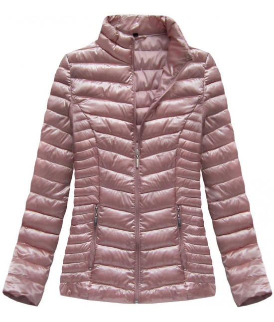 Lesklá dámska jarná bunda MODA601 ružová