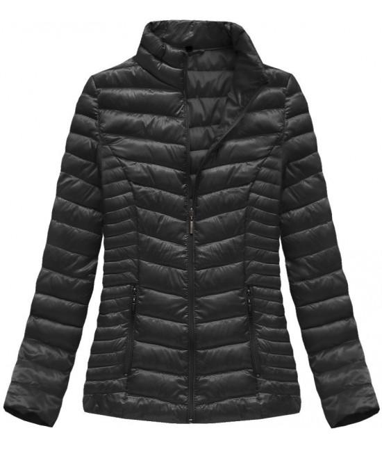 Lesklá dámska jarná bunda MODA601 čierna