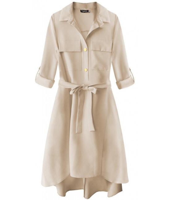 d32c1f33f00d Dámske šaty s vreckami MODA267 béžové - Dámske oblečenie
