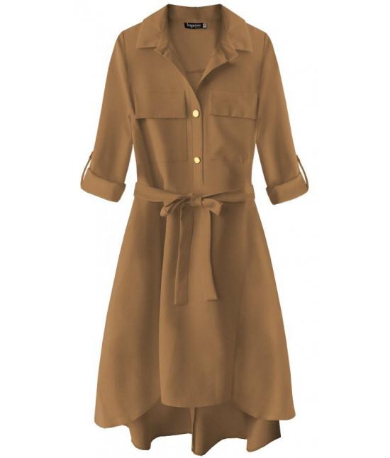 0723347ee44e Dámske šaty s vreckami MODA267 karamelové - Dámske oblečenie ...
