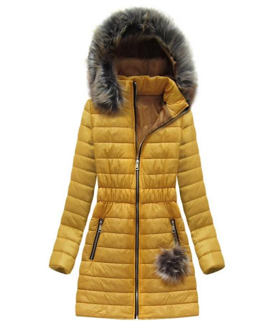 Dámska dlhšia jarná bunda MODA263 žltá