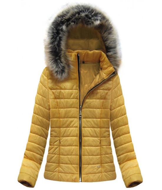 Prešívaná dámska jarná bunda MODA320 žltá