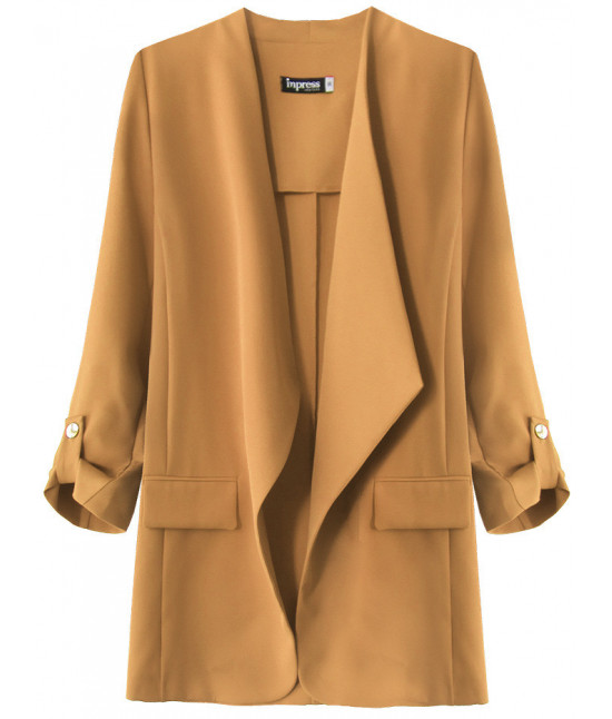Dámsky kabátik s 3/4 rukávmi MODA268 karamelový