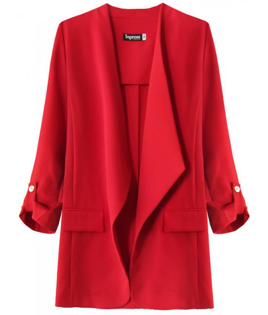 Dámsky kabátik s 3/4 rukávmi MODA268 červený