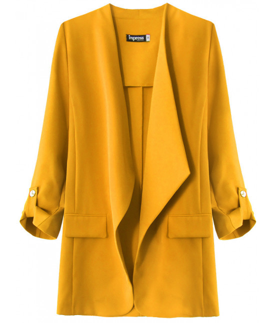 Dámsky kabátik s 3/4 rukávmi MODA268 horčicový