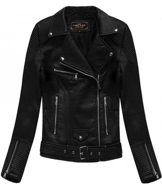 5da7432aa945e Dámska koženková bunda MODA377 čierna veľkosť S - Dámske oblečenie ...