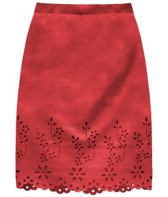 Dámska zamatová sukňa MODA229 červená