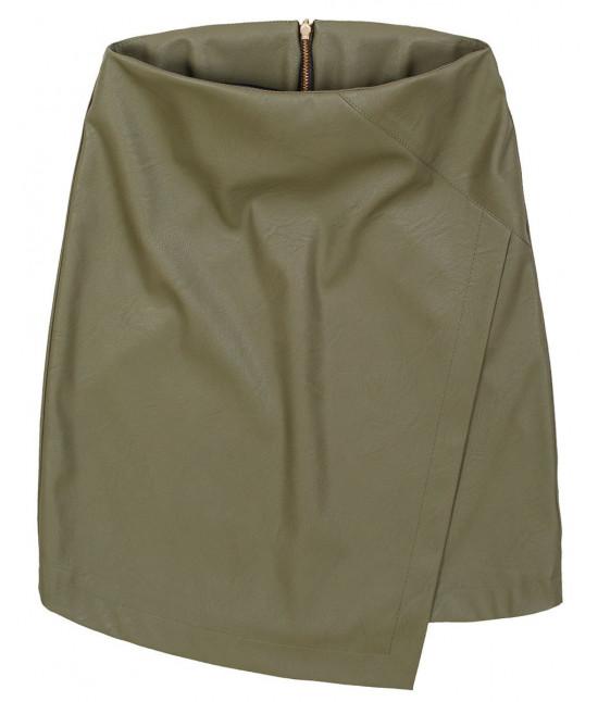 Dámska sukňa z eko-kože khaki MODA111