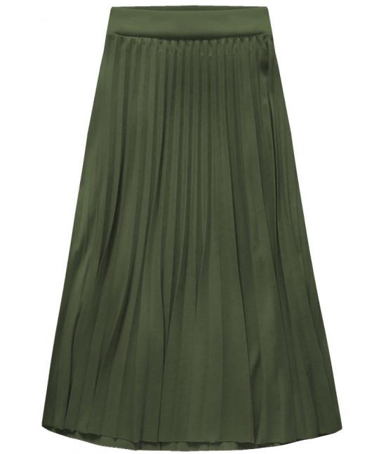 Dámska plisovaná sukňa midi MODA140 khaki