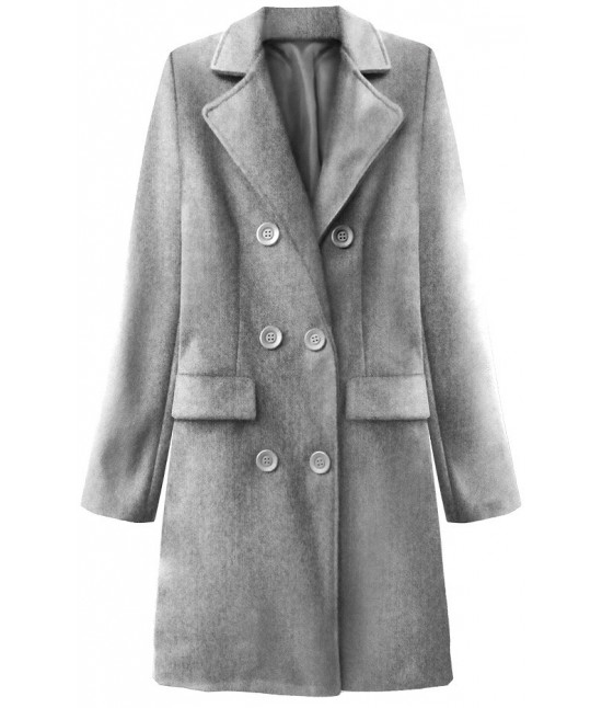 Dámsky dvojradový jarný kabát MODA791 svetlošedý