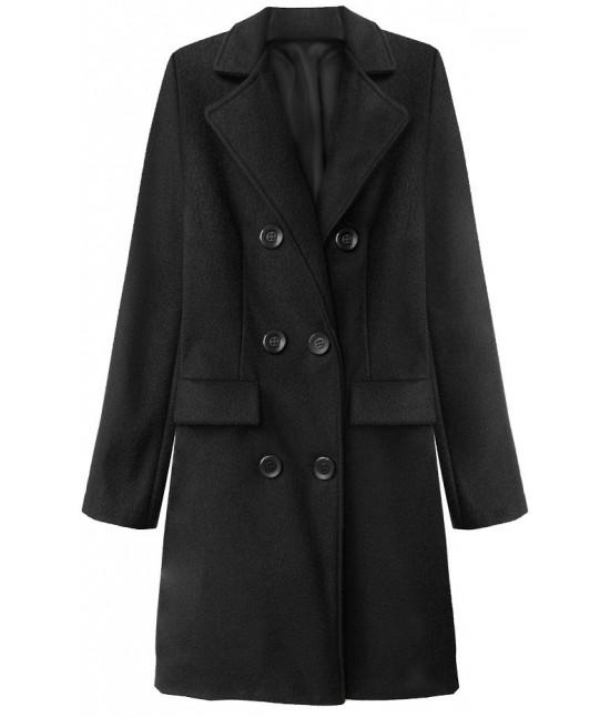 Dámsky dvojradový jarný kabát MODA791 čierny