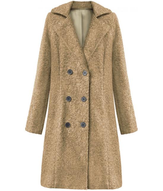 Dámska dvojradový kabát MODA8760 tmavo-béžový