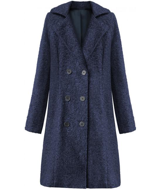 Dámska dvojradový kabát MODA8760 tmavomodrý