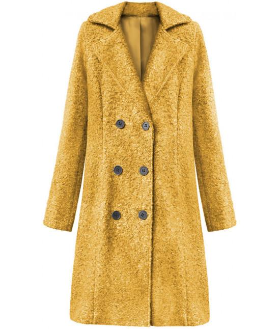Dámska dvojradový kabát MODA8760 horčicový