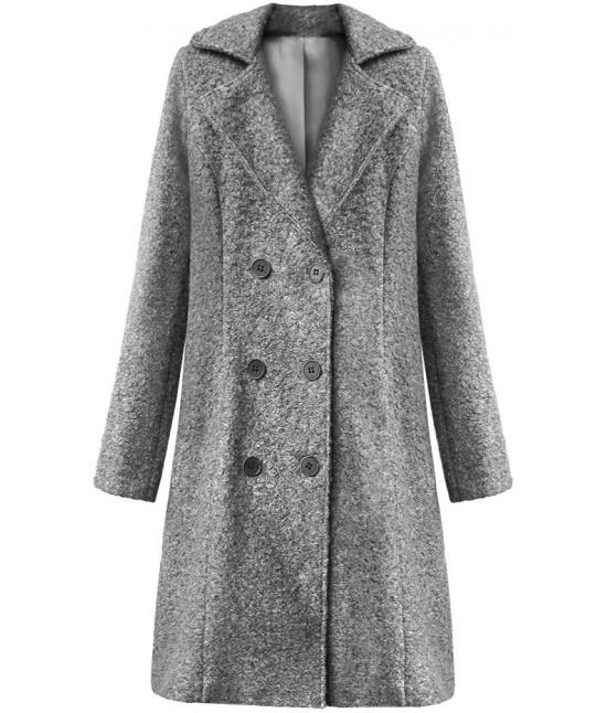Dámska dvojradový kabát MODA8760 tmavošedý