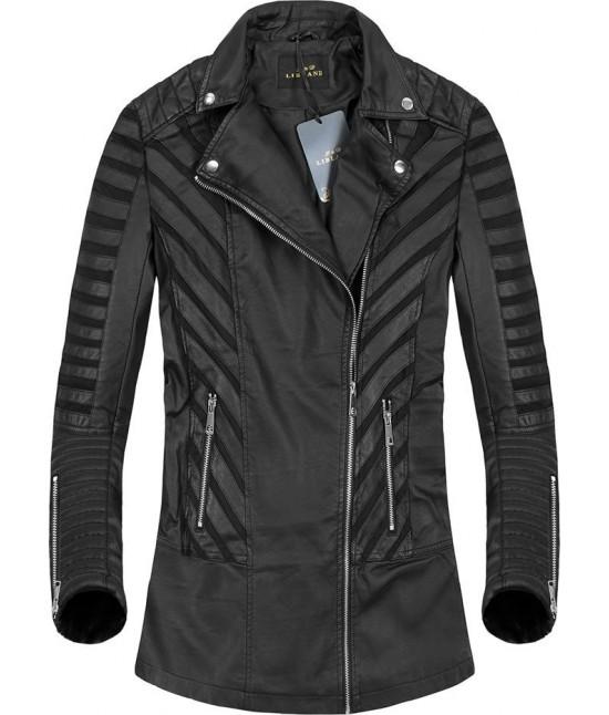 Dlhšia dámska koženková bunda 5255 čierna
