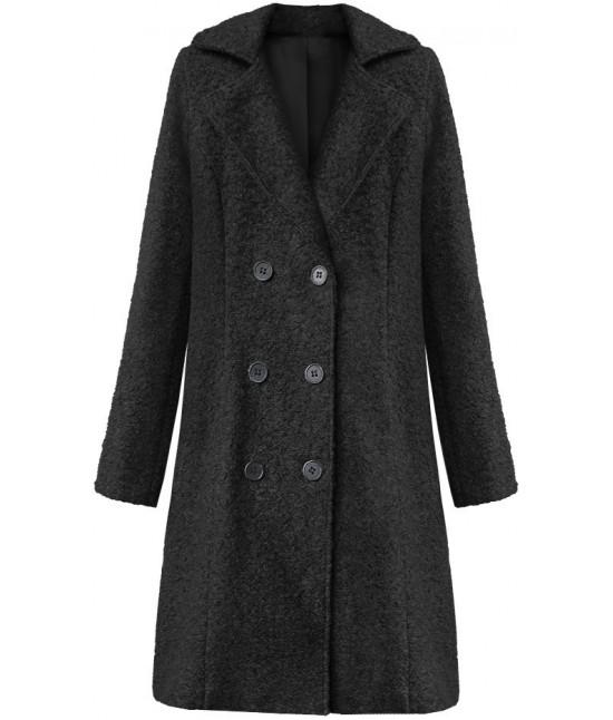 Dámska dvojradový kabát MODA8760 čierny