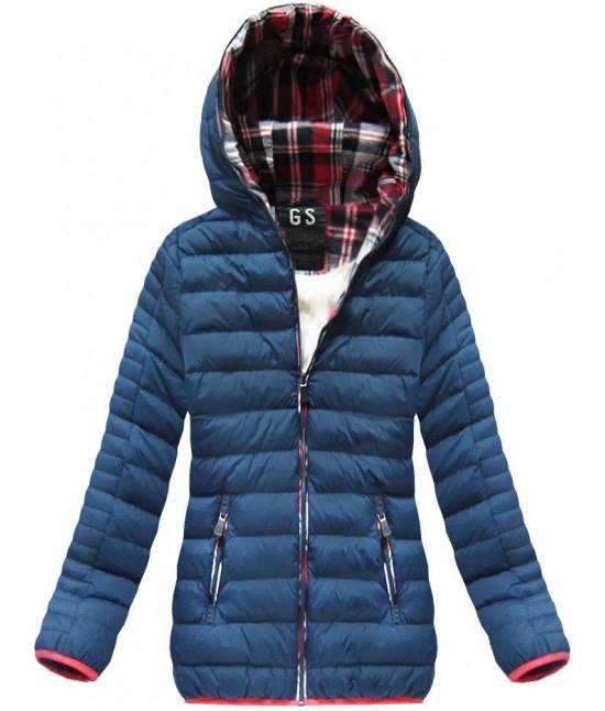 Krátka dámska zimná bunda MODA177 modrá veľkosť M
