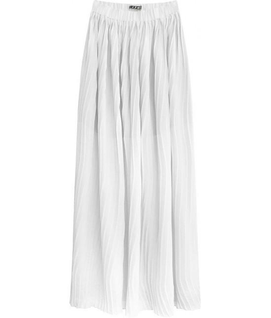 Plisovaná maxi sukňa MODA237 biela