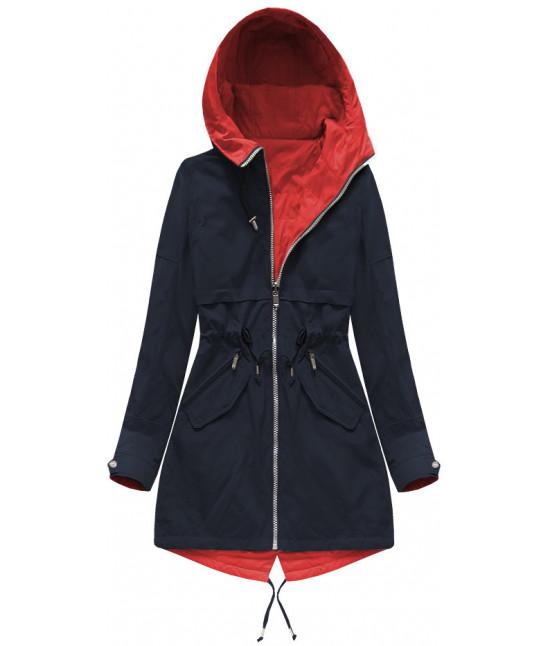 Obojstranná dámska jarná bunda MODA236 tmavomodro-červená